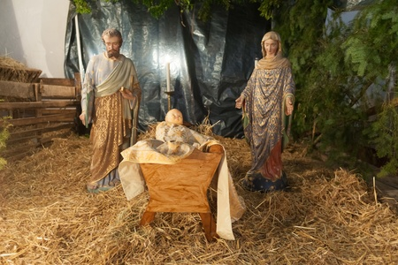 Baby jesus mary and joseph nativity scene photo