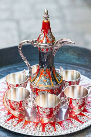 coffee pot: Old Turkish coffee set with red and golden details