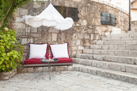 mostar: Outdoor seating on cushions in little cafe in Mostar, Bosnia