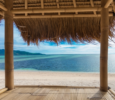 Seaview from bamboo hut on beach on Gili Air island, off Bali in Indonesia Standard-Bild