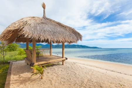 Bamboo hut on beach on sea