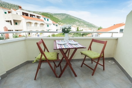 balcony: Terrace exterior of apartment in mediterranean environment Stock Photo