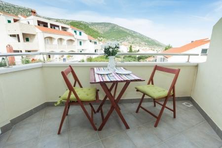 Terrace exterior of apartment in mediterranean environment Standard-Bild