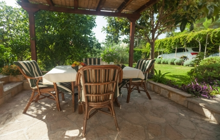 Garden terrace in mediterranean style environment