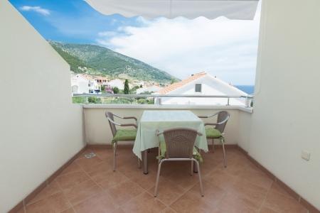 seaview: Terrace exterior of apartment in mediterranean environment Stock Photo