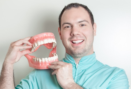oversized: Dentist holding oversized false teeth dentures