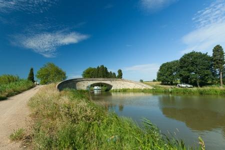Old bridge on the canal du midi, France