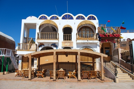 fled: DAHAB - JANUARY 23: Deserted hotel during the Egyptian demonstrations on January 23, 2011 in Dahab, Egypt. Most tourists fled the touristic zones of the Sinai.