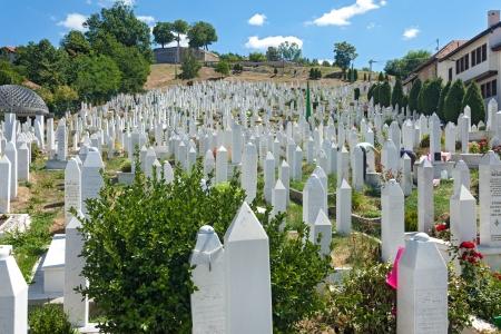 martyr: SARAJEVO, BOSNIA AND HERZEGOVINA - AUGUST 12, 2012: Hillview of Martyr´s memorial cemetery Kovaci in the centre of Sarajevo.