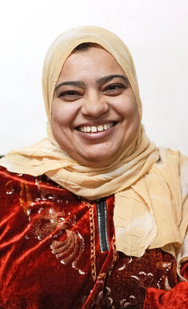 DAHAB, EGYPT - FEBRUARY 2, 2011: Portrait of Egyptian woman wearing hijab, traditional head cover or wrap worn by Muslim women.