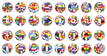 3D render of 32 soccer football representing all competitor countries on 2014  world cup on on white background photo