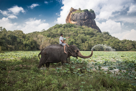 sri: Man and child riding on the back of elephant with rock of Sigiriya as backdrop Stock Photo