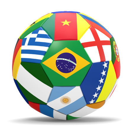 3D render of football and flags representing all countries participating in football world cup in Brazil in 2014 photo