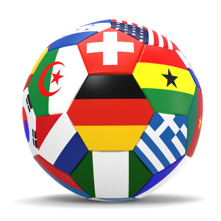 costa rica: 3D render of football and flags representing all countries participating in football world cup in Brazil in 2014