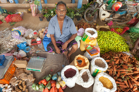 sallad: HIKKADUWA, SRI LANKA - FEBRUARY 23, 2014: Portrait of elderly market vendor selling his produce. The Sunday market is great way to see Hikkaduwas local life come alive along with fresh produce and local delicacy