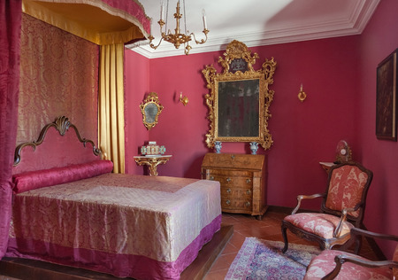 recreate: DUBROVNIK, CROATIA - MAY 27, 2014: Bedroom in the Rectors palace museum. The majority of the halls have styled furniture so as to recreate the original atmosphere of these rooms. Editorial