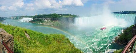 horseshoe falls: Panoramic view of Niagara falls, American, Bridal Veil and Horseshoe Falls from Canada.
