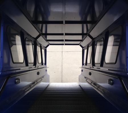 ramp: Symmetrical blue airplane ramp interior