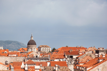 old towns: View on Dubrovnik Old towns beautiful rooftops on sunny day with copyspace on upper part.