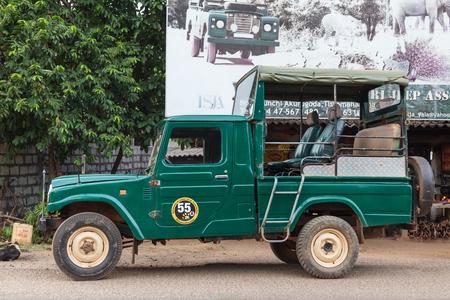 yala: ELLA,  SRI LANKA - MARCH 4, 2014: Safari jeep pickup station for Yala tour. Yala is the second largest national park in Sri Lanka. Editorial