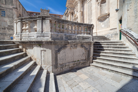 collegium: Jesuits staircase, the grand staircase that leads from Gundulic Square to the square in front of Collegium Ragusinum and St. Ignatius Church in Dubrovnik, Croatia.