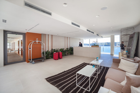 anteroom: DUBROVNIK, CROATIA - MAY 28, 2014: Hotel Villa Dubrovniks anteroom and reception. Popular, luxurious modern hotel with private beach on great location. Editorial