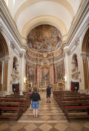 collegium: DUBROVNIK, CROATIA - MAY 28, 2014: Inside of Jesuit church of St. Ignatius. The church and collegium complex is considered to be the finest baroque set of buildings in Dubrovnik. Editorial