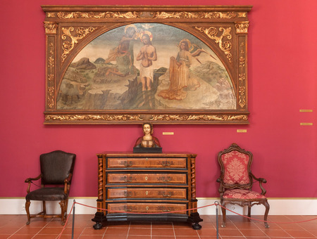 recreate: DUBROVNIK, CROATIA - MAY 27, 2014: Living room in the Rectors palace museum. The majority of the halls have styled furniture so as to recreate the original atmosphere of these rooms.