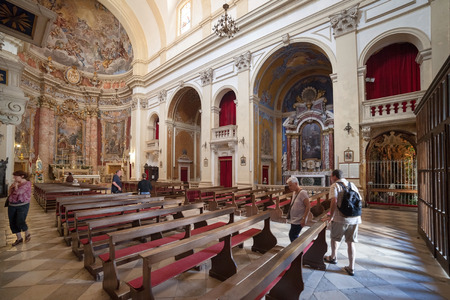 ragusa: DUBROVNIK, CROATIA - MAY 28, 2014: Inside of Jesuit church of St. Ignatius. The church and collegium complex is considered to be the finest baroque set of buildings in Dubrovnik. Editorial
