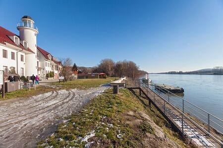 morava: BRATISLAVA, SLOVAKIA - JANUARY 6, 2015: Lighthouse near Devin castle at the confluence of rivers Morava and Danube. Editorial