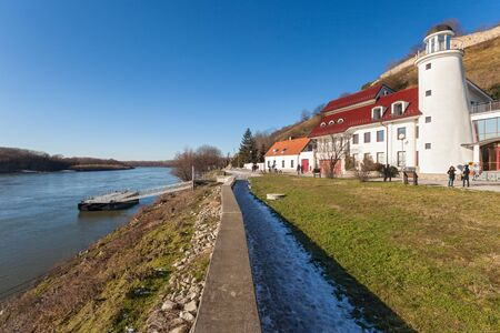 confluence: BRATISLAVA, SLOVAKIA - JANUARY 6, 2015: Lighthouse near Devin castle at the confluence of rivers Morava and Danube. Editorial