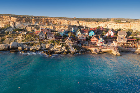 major ocean: Popeye village at Malta. It was built as a film set for film Popeye and today it is one of the major tourist attractions on the Maltese Islands.