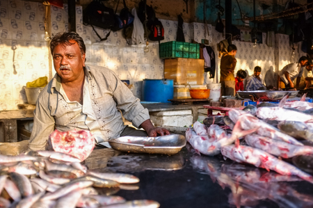 MUMBAI, INDIA - 08 JANUARY 2015: Worker on a fishmarket posing while waiting for customers.