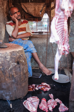 skinning: MUMBAI, INDIA - 12 JANUARY 2015: Indian man speaking on phone in a butchery Editorial