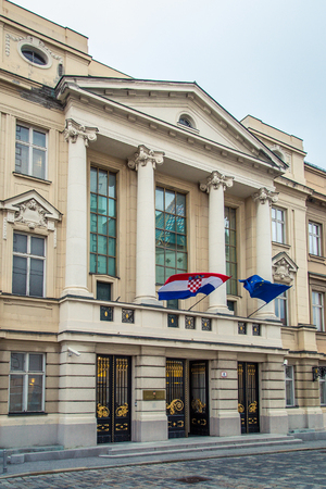 ZAGREB, CROATIA - 12 MARCH 2015: Main entrance to Croatian parliament in Upper town. Editorial
