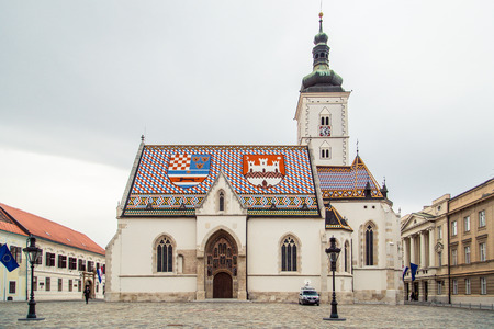 ZAGREB, CROATIA - 12 MARCH 2015: St. Marks Church in the Upper town in Zagreb with its characteristic rooftiles.
