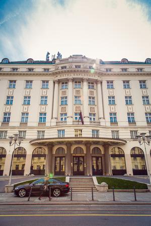 17 march: ZAGREB, CROATIA - 17 MARCH 2015: Main entrance to the Esplanade Hotel in Zagreb. Editorial