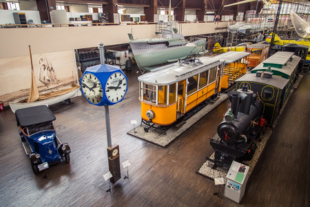 17 march: ZAGREB, CROATIA - 17 MARCH 2015: Main exibition part of Tehnicki muzej with old trains, an old car, planes and a very old submarine.