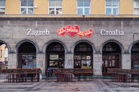 after hours: ZAGREB, CROATIA - 11 MARCH 2015: View of Zagrebs Dolac market after working hours and the Zagreb Croatia sign. Editorial