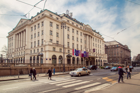 17 march: ZAGREB, CROATIA - 17 MARCH 2015: A side view of the main entrance to the Esplanade Hotel in Zagreb.