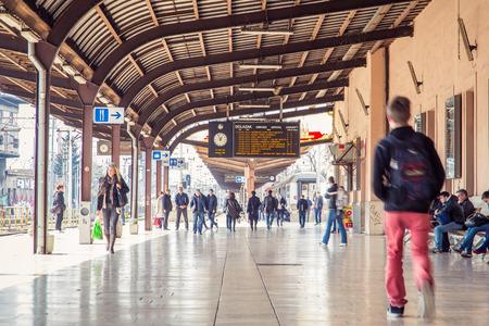 17 march: ZAGREB, CROATIA - 17 MARCH 2015: People walking on platform number 1 in Glavni kolodvor (main train station). Editorial