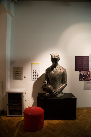 17 march: ZAGREB, CROATIA - 17 MARCH 2015: Teslas statue in Tehnicki muzej.