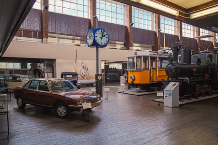 planos electricos: ZAGREB, CROATIA - 17 MARCH 2015: Main exibition part of Tehnicki muzej with old trains and an old car. Editorial