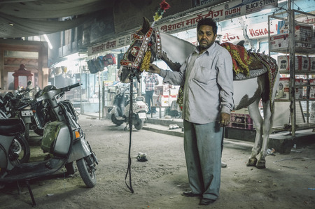 bridegrooms: JODHPUR, INDIA - 07 FEBRUARY 2015: Horse used in bride-grooms wedding procession decorated in traditional Indian style stands with trainer in street. Post-processed with added grain and texture. Editorial