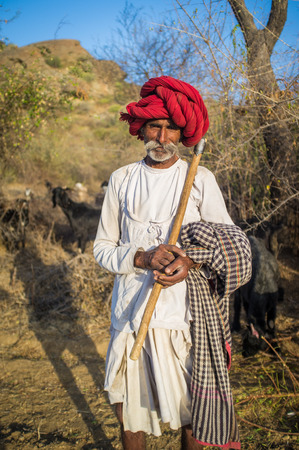 gujarat: GODWAR REGION, INDIA - 13 FEBRUARY 2015: Rabari tribesman holds traditional axe on field and stands close to herd. Rabari or Rewari are an Indian community in the state of Gujarat.