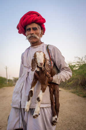 gujarat: GODWAR REGION, INDIA - 13 FEBRUARY 2015: Elderly Rabari tribesman stands and holds goatling. Rabari or Rewari are an Indian community in the state of Gujarat. Editorial