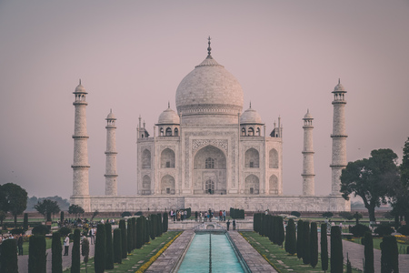love dome: AGRA, INDIA - 28 FEBRUARY 2015: View of Taj Mahal in front of the Great Gate. South side.