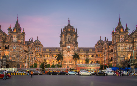 MUMBAI, INDIA - 17 JANUARY 2015: Chhatrapati Shivaji Terminus at sunset. It serves as headquarters of the Central Railways. 에디토리얼
