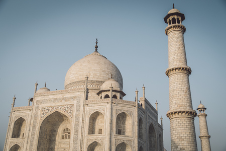 side effect: Close up view of Taj Mahal from North-East side. Post-processed with grain, texture and colour effect.