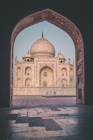 side effect: View of Taj Mahal from mosque. West side. Post-processed with grain, texture and colour effect.